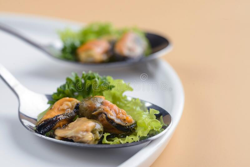 Snack of mussels stock image