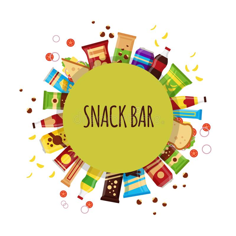 Snack product with circle. Fast food snacks, drinks, nuts, chips, cracker, juice, sandwich for snack bar isolated on. White background. Flat illustration in royalty free illustration