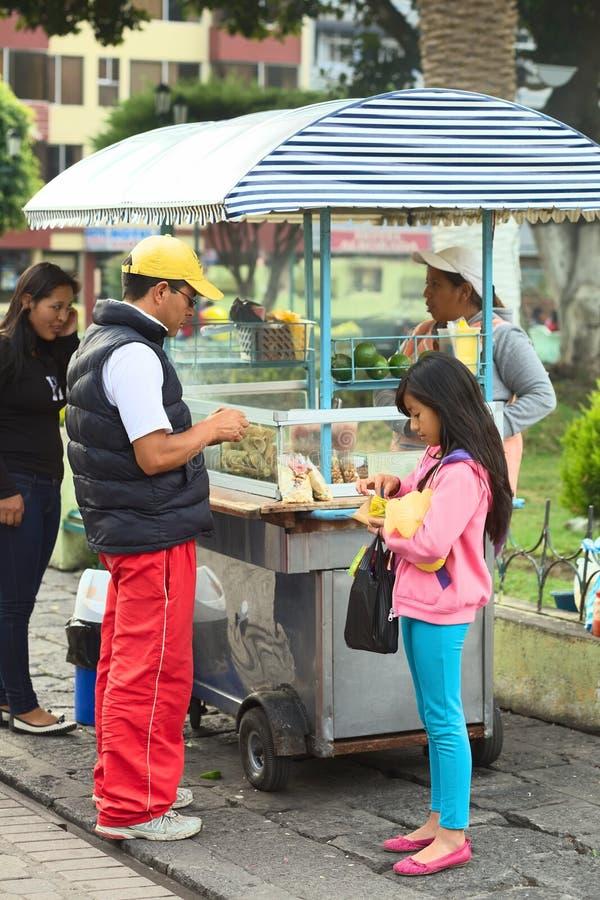 Snack-Stand in Banos, Ecuador stockfoto