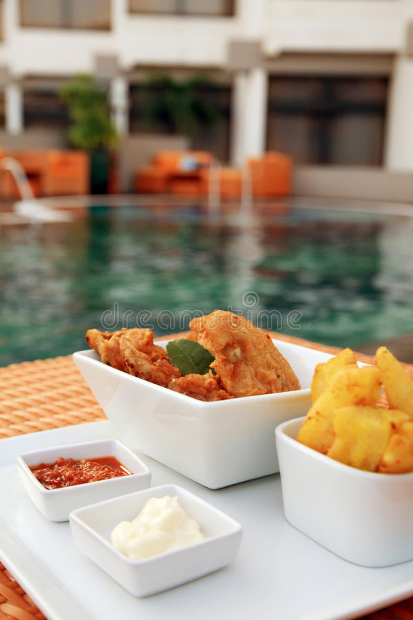 Snack At Swimming Pool Stock Photo