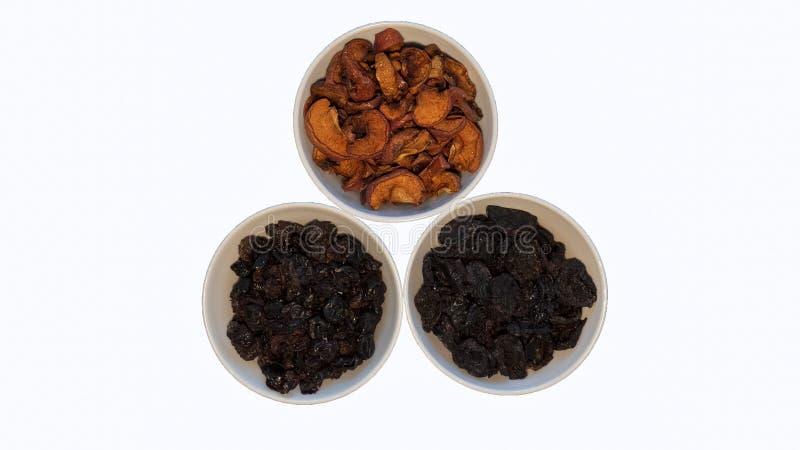 Snack voor een gezonde levensstijl, een hoogste mening, droge appelen en gedroogde pruimen, gezondheid royalty-vrije stock foto's
