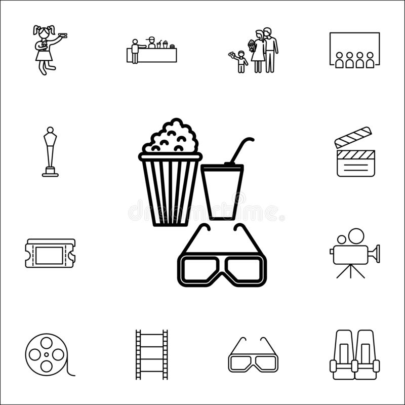 Free Snacks And 3d Glasses Icon. Cinema Icons Universal Set For Web And Mobile Stock Photo - 126369790