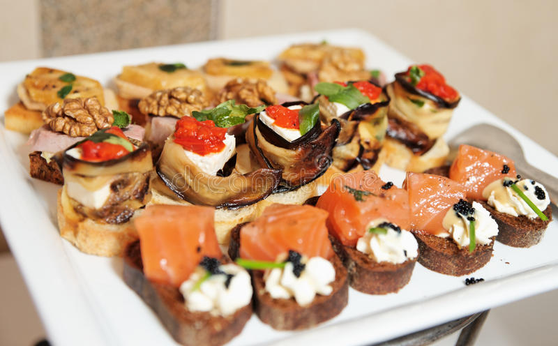 Download Snacks on banquet table stock photo. Image of canape - 19836960