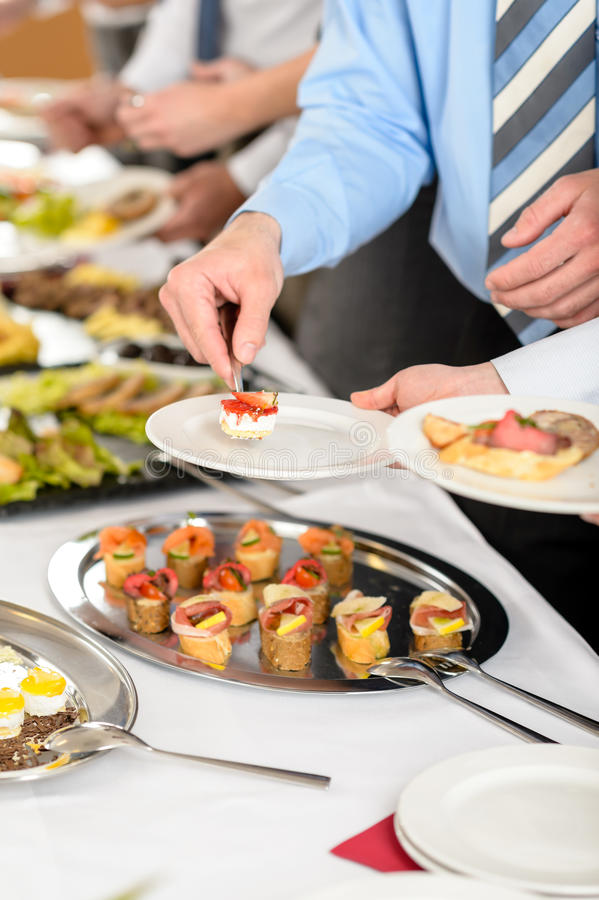 Snacks buffet at business company meeting royalty free stock photo