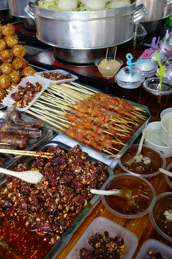 The snacks of Chengdu. Barbecued Street Foods stock photo