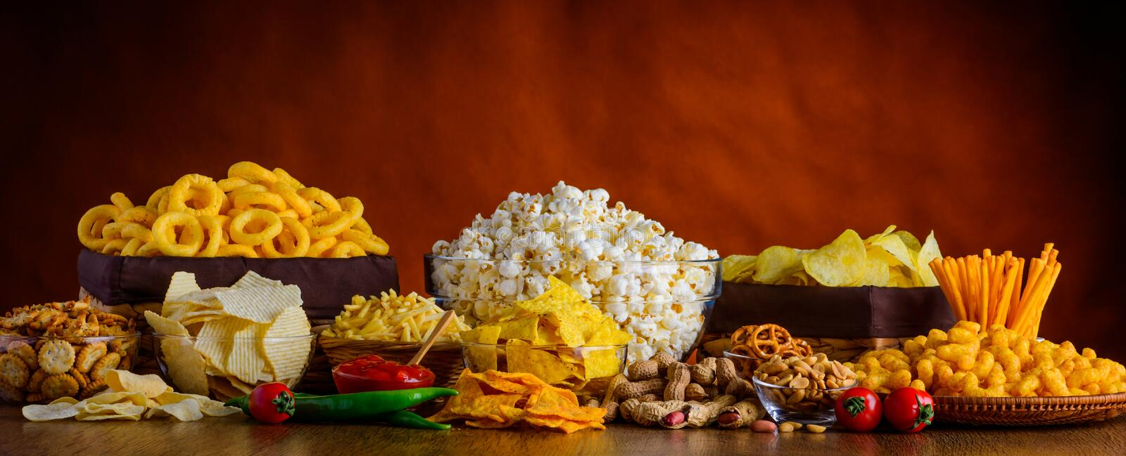 Snacks, Chips and Popcorn royalty free stock image