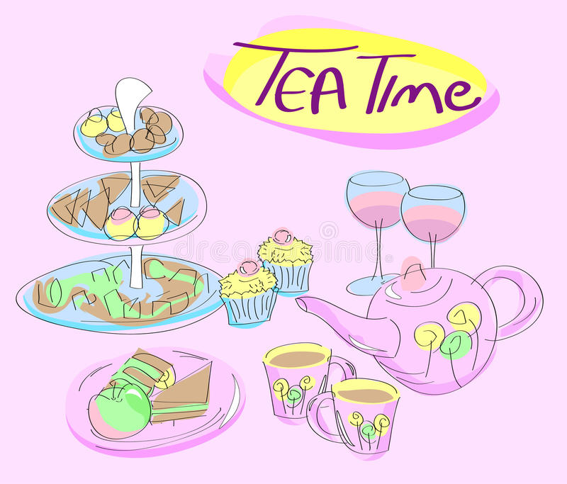 Snacks, cups and tea kettle - tea. Snacks, cups and tea kettle on pink background with 'Tea Time' text vector illustration