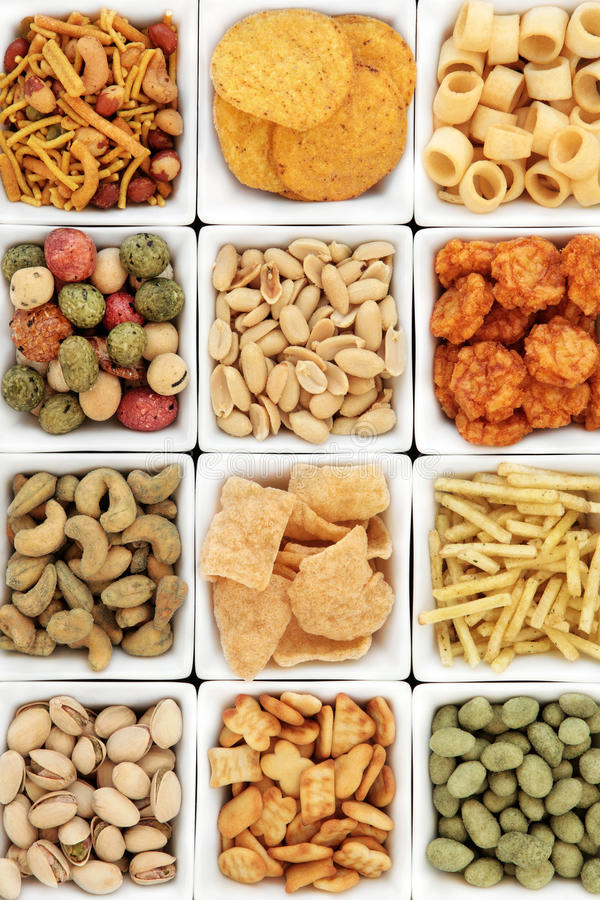 Snacks del partido fotografía de archivo