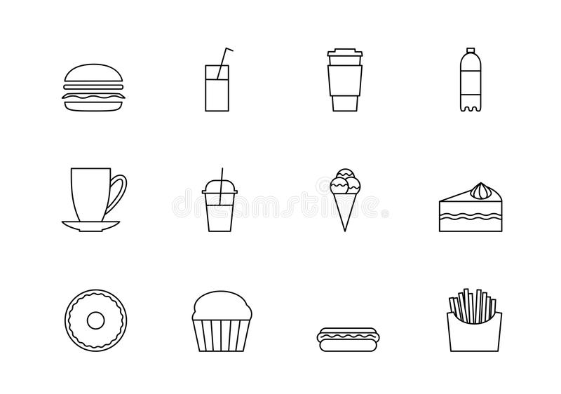 Snacks desserts and beverage outline icon set. Food thin line icons, fastfood, hod and refreshing ncold drinks. Symbol for web design or mobile app. Outline vector illustration