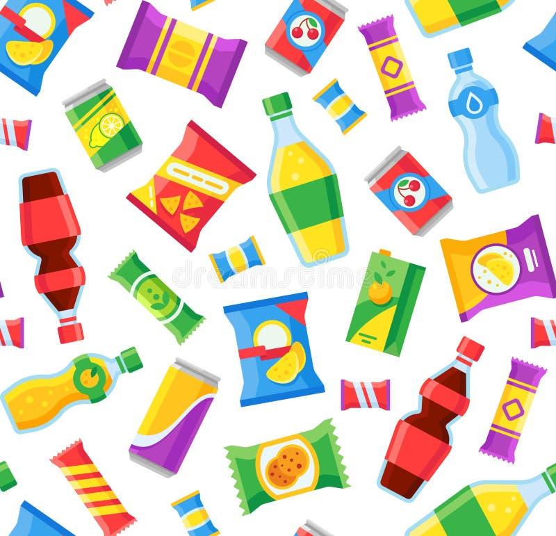 Snacks en dranken naadloos patroon Snel voedsel snacking zakken en sodaflessen De vectoromslag van automaatproducten stock illustratie