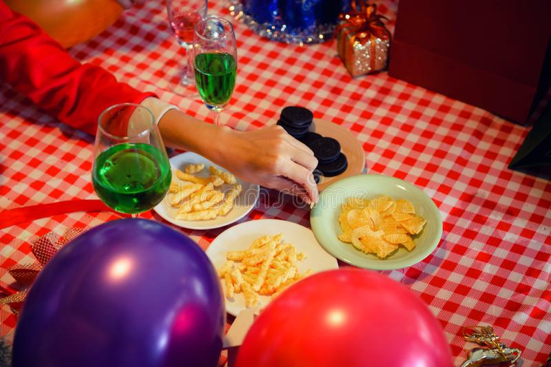 snacks and gift for friend xmas party stock image