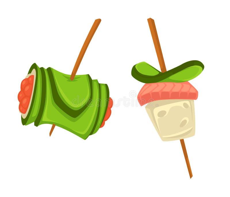 Snacks op houten stokkensushi met komkommer en zalmplak vector illustratie
