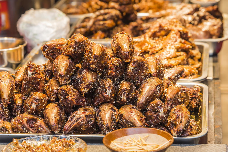 Snacks - Spicy chicken head stock image