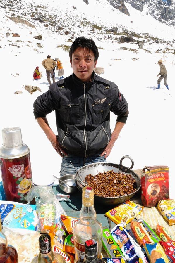 Snacks vendor at sub zero temperatures royalty free stock images