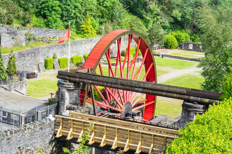 The Snaefell Wheel also known as Lady Evelyn is a waterwheel in Laxey, Isle of Man. The wheel stands in the washing floors in Laxey Glen Gardens, approximately royalty free stock image