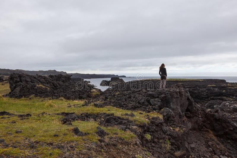 Snaefellsness, Iceland - Jul 23, 2016: Young. stock photos