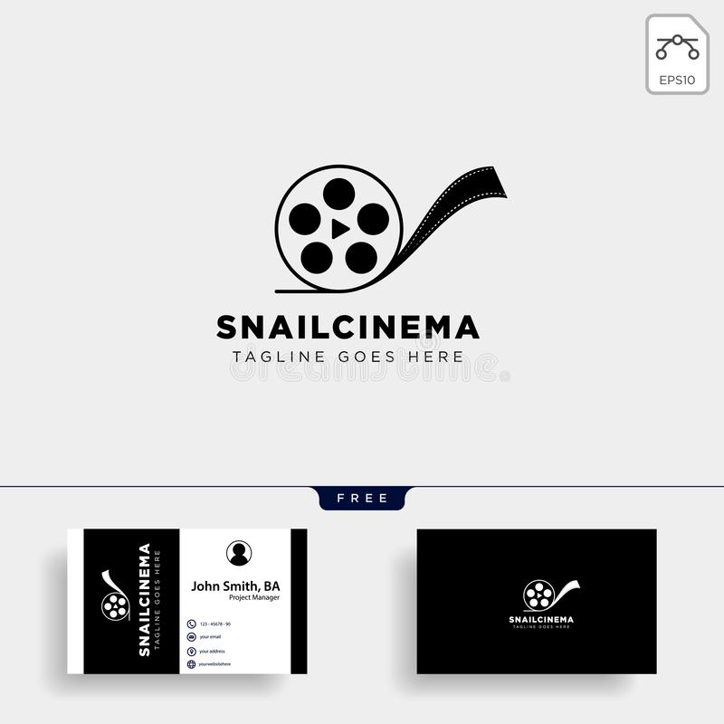Snail cinema movie video simple art film logo template vector illustraition. Vector file royalty free illustration
