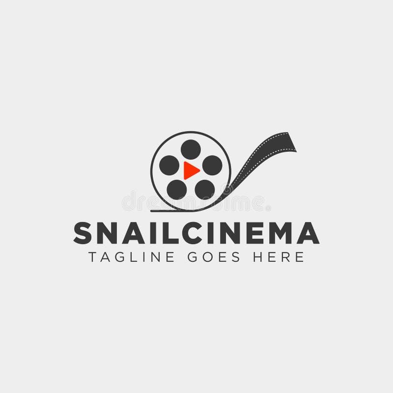 Snail cinema movie video simple art film logo template vector illustraition. Vector file stock illustration