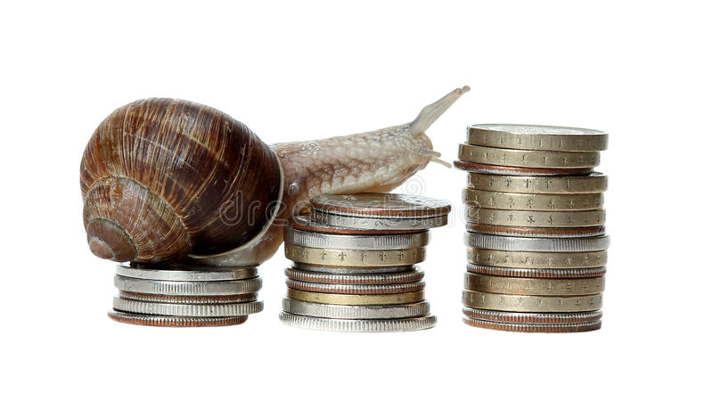 Snail Climbing Coins Royalty Free Stock Images