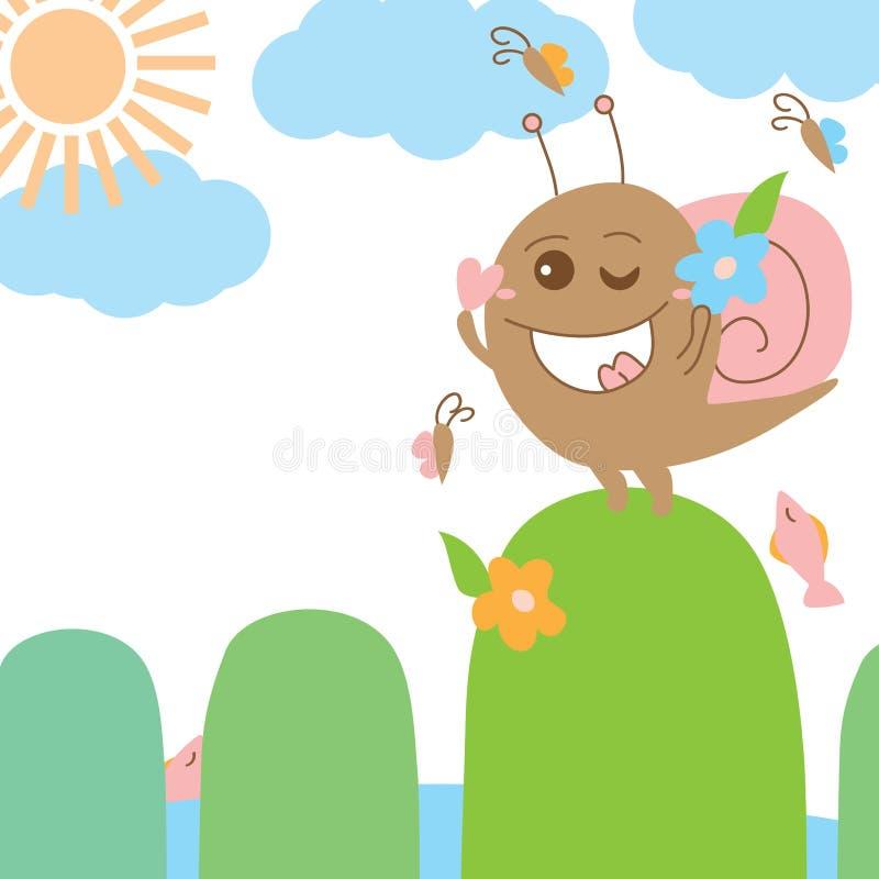 Snail crazy monster sun bath stock illustration