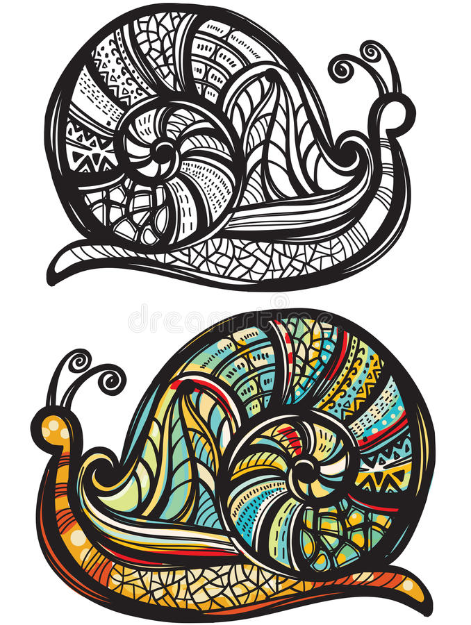 Snail with doodle pattern. Abstract snail with doodle pattern vector illustration