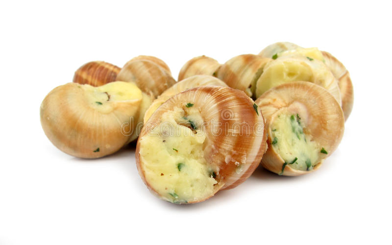 Snail escargot prepared as food royalty free stock images