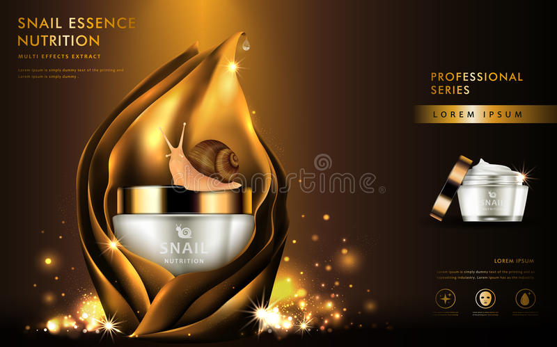 Snail extract cosmetic ads. Natural essence in beautiful container covered in golden leaves on brown background in 3d illustration stock illustration