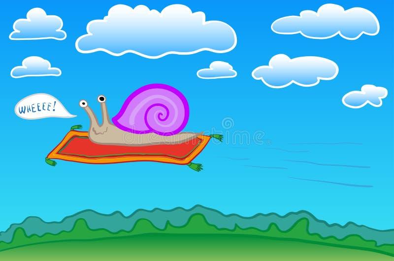 Snail on a flying carpet stock illustration