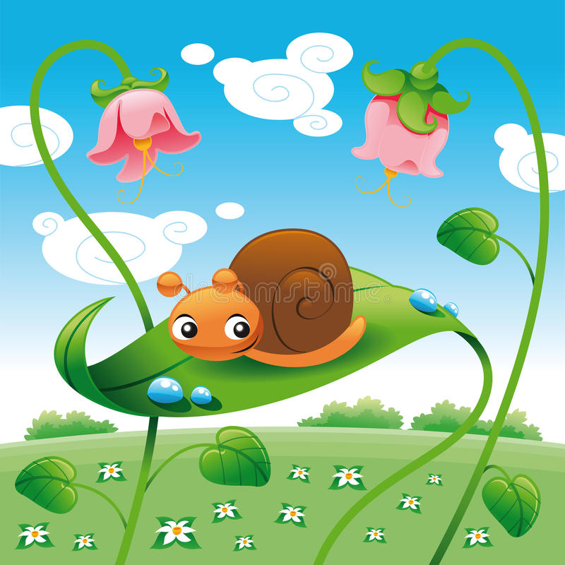 Download Snail on the leaf stock vector. Image of flower, vector - 9732890