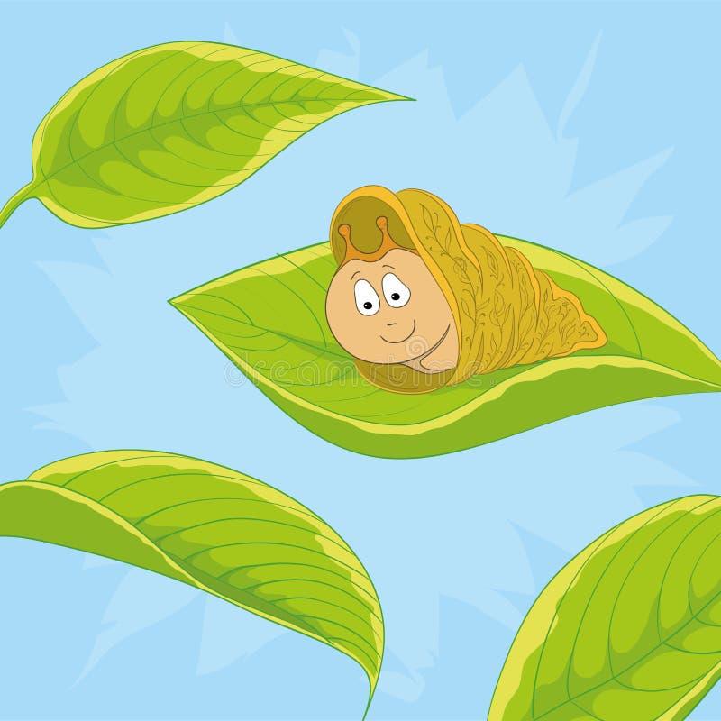Snail on leave royalty free illustration