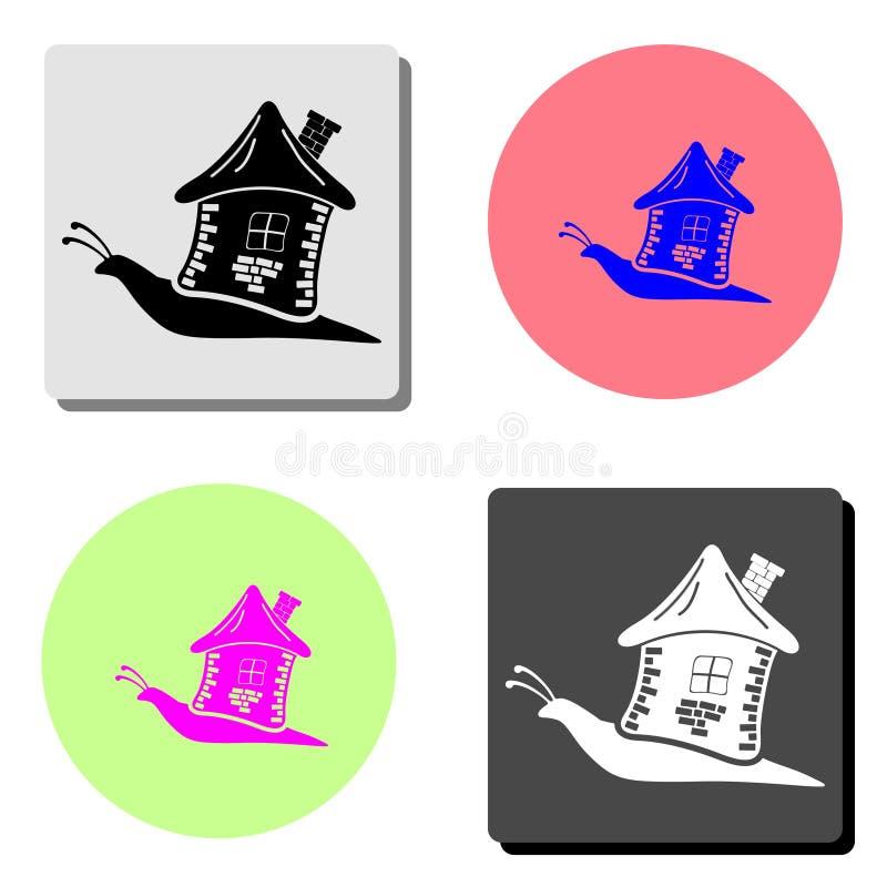 Snail med huset Plan vektorsymbol stock illustrationer