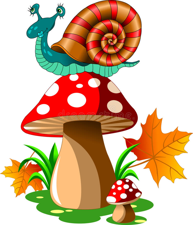 Free Snail On Mushroom Stock Photo - 85601220