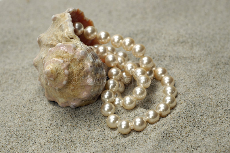 Snail with pearls stock images