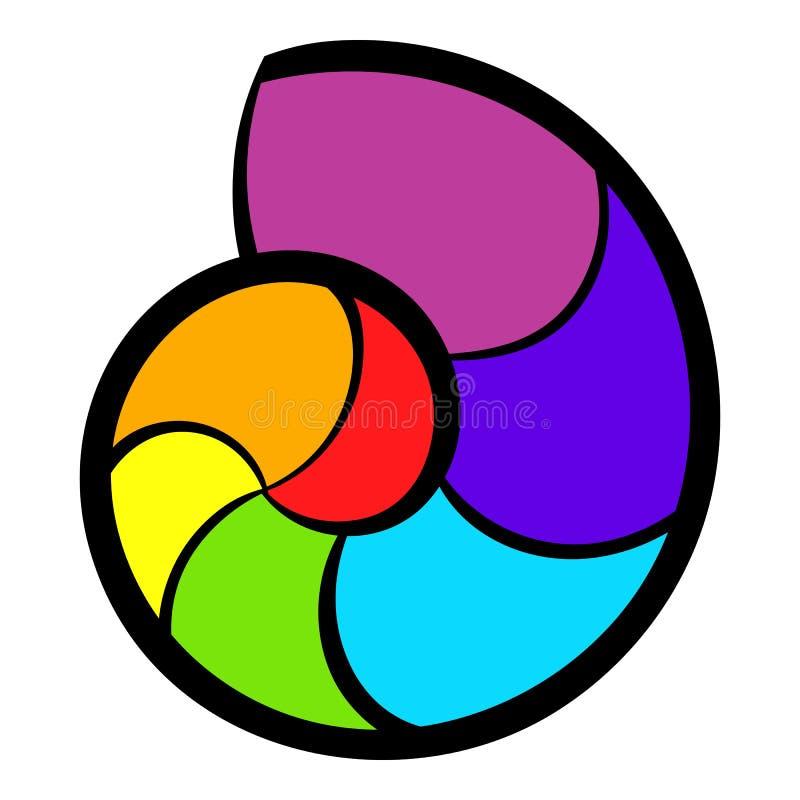 Snail rainbow icon, icon cartoon stock illustration