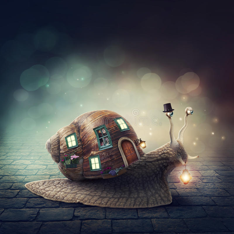 Download Snail with a shell house stock photo. Image of imagination - 69742604