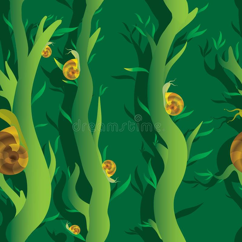 Snail seamles pattern. Snail on a vine in the swamp seamles pattern stock illustration