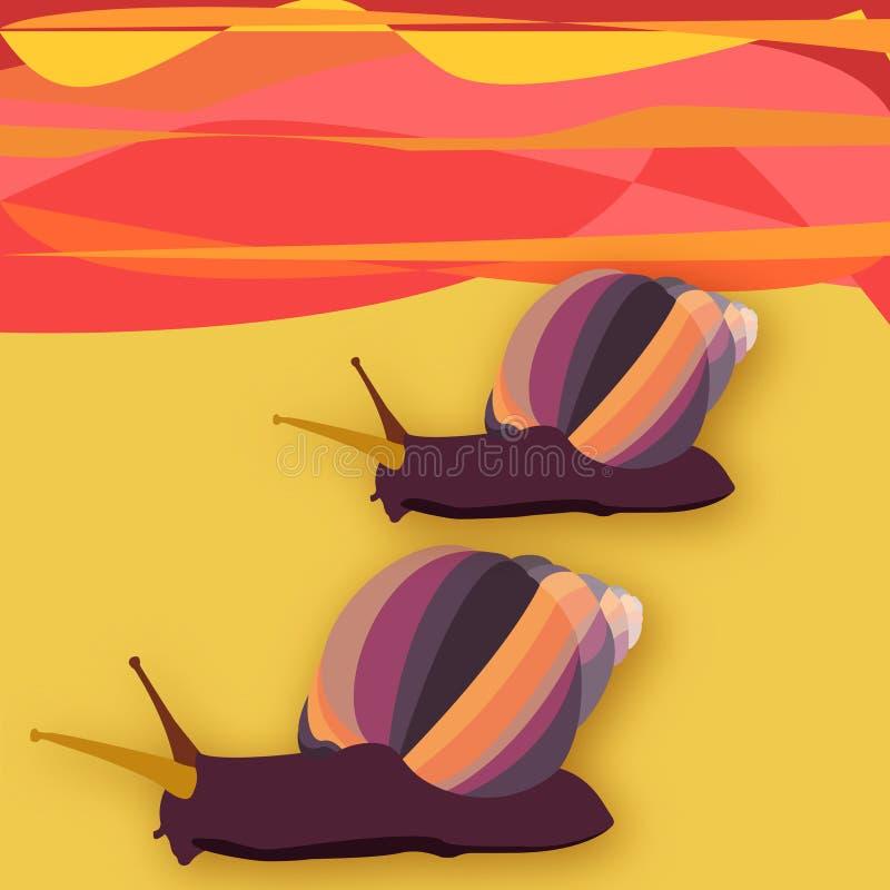 2 snailes на заходе солнца в пустыне стоковая фотография