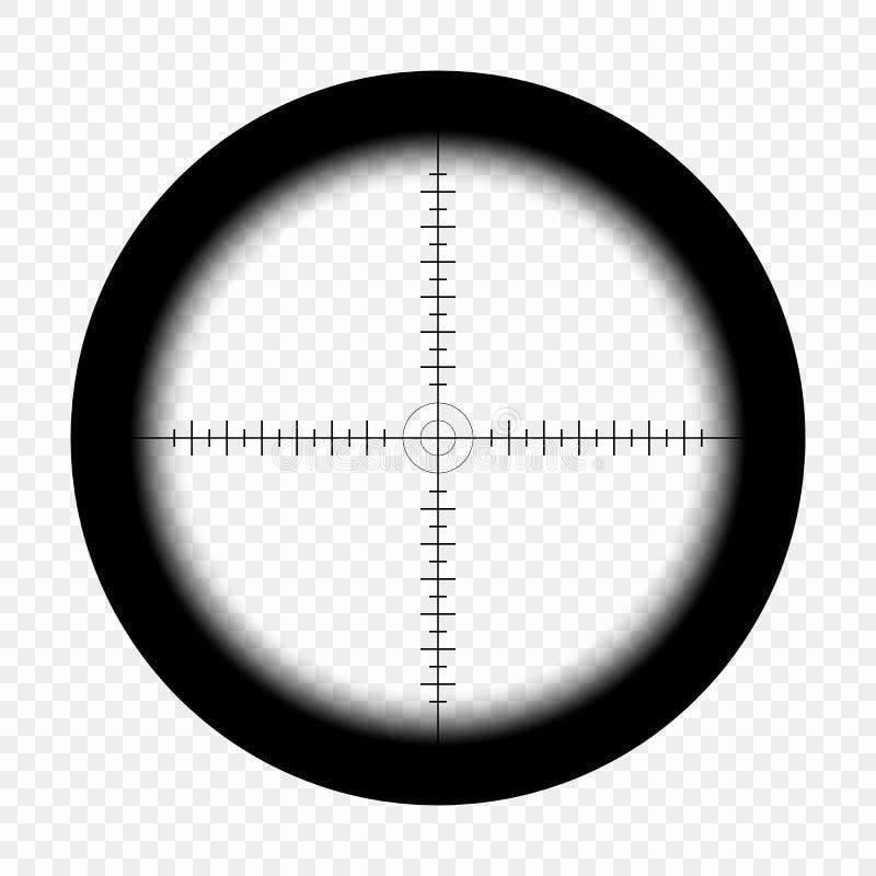 Snajperski zakres z pomiar ocenami na odosobnionym przejrzystym tle Widok przez widoku myśliwego karabin wektor ilustracja wektor