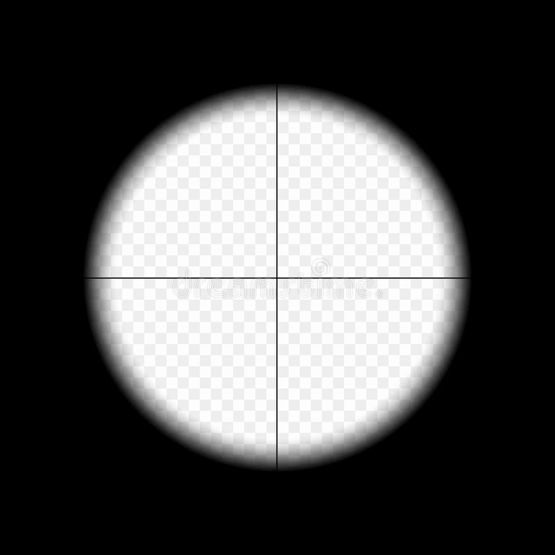 Snajperski zakres z pomiar ocenami na odosobnionym przejrzystym tle Widok przez widoku myśliwego karabin wektor ilustracji