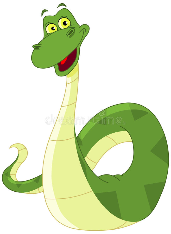 Snake. Clip art illustration of a happy green snake
