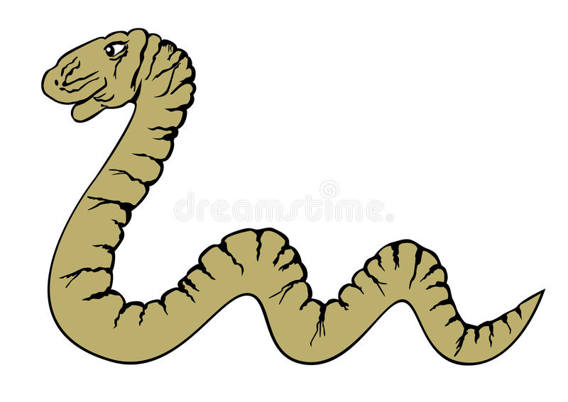 Snake. Vector crawling yellow snake isolated royalty free illustration