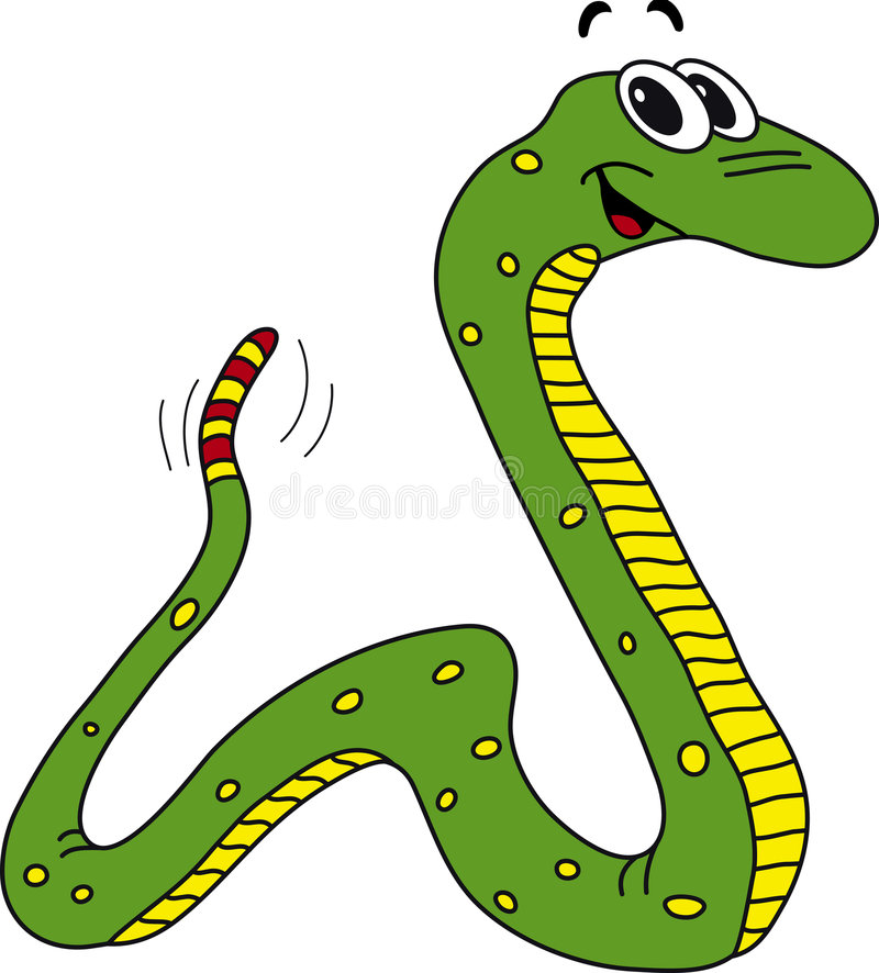 Snake. Vector illustration of funny green snake royalty free illustration