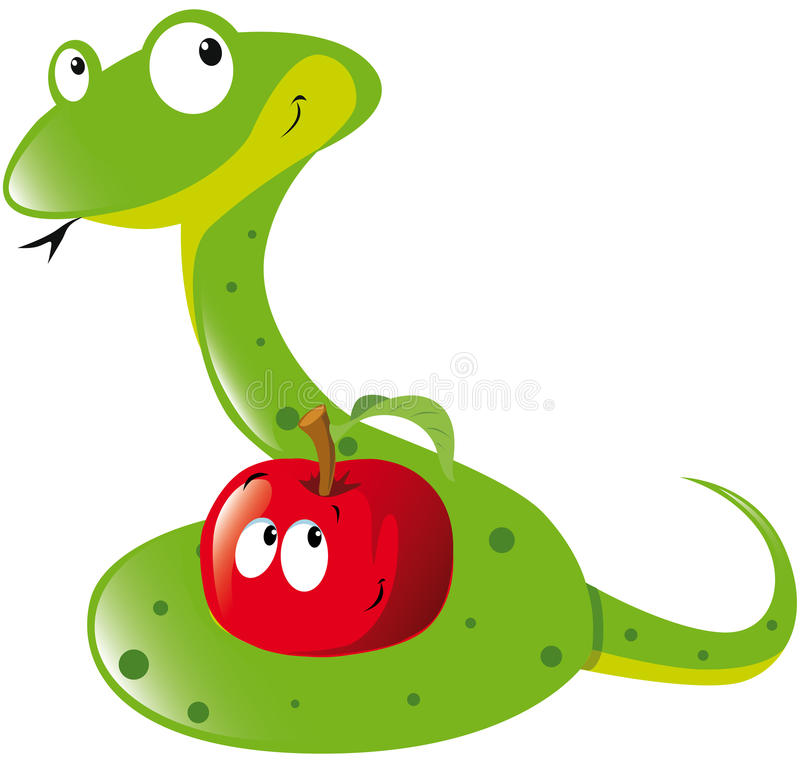 Download Snake and apple stock vector. Image of evil, concept - 26579189