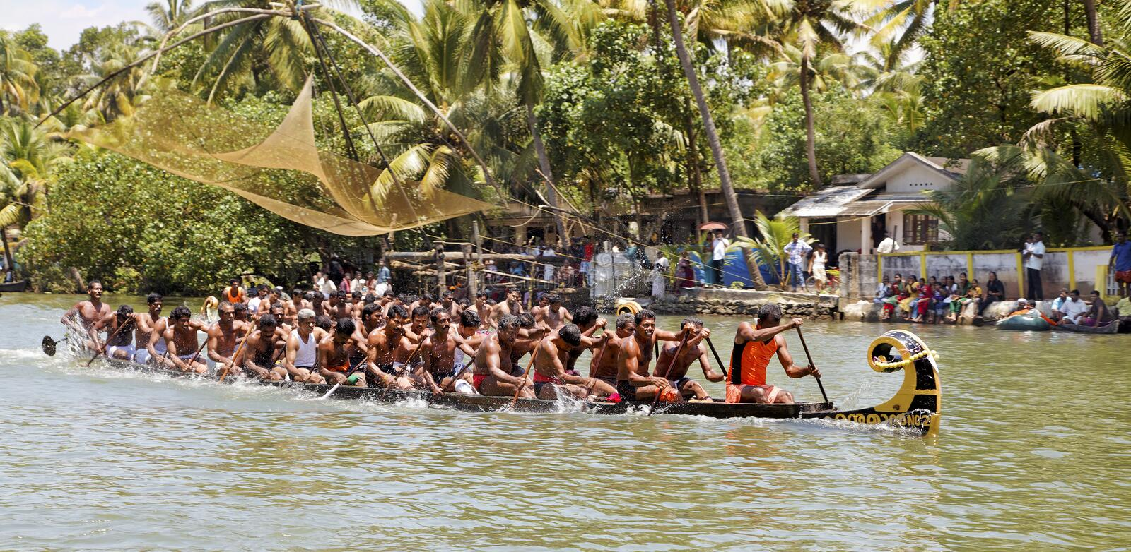 Snake boat race Kerala half way to finish line royalty free stock photos