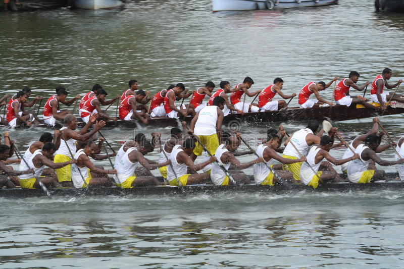 Snake Boat Racing. Snake boats competing in the Nehru trophy boat race of Alleppey in Kerala, India stock photos