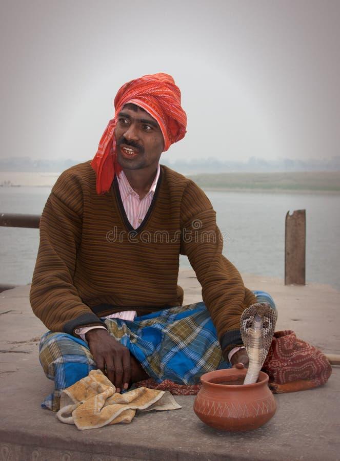 Snake Charmer. A snake charmer cobra, Varanasi, India royalty free stock image