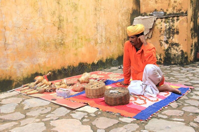 Snake Charmer in Amber Fort. Street snake charmer in Amber Fort, jaipur,Rajasthan,India stock photography