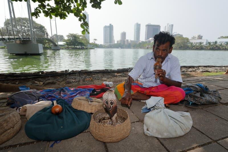 Snake charmer from Colombo in Sri Lanka royalty free stock photo