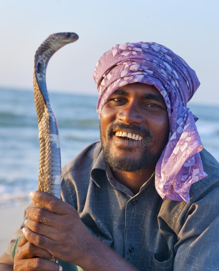 Snake charmer in Sri Lanka royalty free stock image