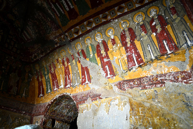 Snake church. (Yılanlı Kilise) Named for a fresco showing a three-headed snake torturing sinners, the many frescoes—some quite gruesome—are stock photography